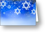 Star Of David Greeting Cards - Stars Of David Against Blue Background, Studio Shot Greeting Card by Tetra Images