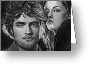 Kristen Stewart Greeting Cards - Stars of Twilight Movie Greeting Card by Carliss Mora