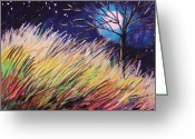 Colours Pastels Greeting Cards - Stars Over Grasses Greeting Card by John  Williams