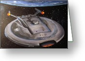 Starship Enterprise  Greeting Cards - Starship Enterprise Greeting Card by Rita Tortorelli