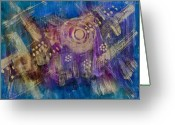 All Star Mixed Media Greeting Cards - Starship Vortex Greeting Card by Don  Wright