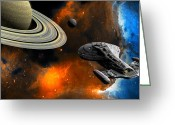Outerspace Greeting Cards - Starship Voyager Greeting Card by Walter Colvin