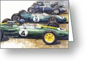 Hill Painting Greeting Cards - Start British GP 1963 - Lotus  Brabham  BRM  Brabham Greeting Card by Yuriy  Shevchuk