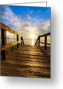 Bridge Greeting Cards Greeting Cards - Start of the Day Greeting Card by Debra and Dave Vanderlaan