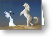 White White Horse Digital Art Greeting Cards - Startled Greeting Card by Alex Hardie