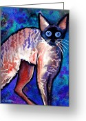Funny Pet Picture Greeting Cards - Startled Cornish Rex Cat Greeting Card by Svetlana Novikova