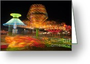 Fairgrounds Greeting Cards - State Fair Rides at Night I Greeting Card by Clarence Holmes