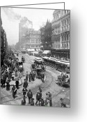 Buggy Greeting Cards - State Street - Chicago Illinois - c 1893 Greeting Card by International  Images