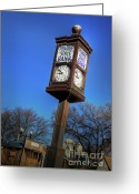 Chimes Greeting Cards - State Street Clock Greeting Card by Fred Lassmann