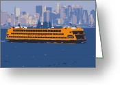 Row House Fire Escapes In New York Greeting Cards - Staten Island Ferry Color 16 Greeting Card by Scott Kelley
