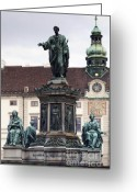 Wien Greeting Cards - Statue at Hofburg Palace Greeting Card by Andre Goncalves