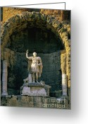 Romans Greeting Cards - Statue de lempereur Auguste dans le theatre dOrange. Greeting Card by Bernard Jaubert