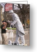Cityscene Digital Art Greeting Cards - Statue Giving Five Greeting Card by Maxine Bochnia