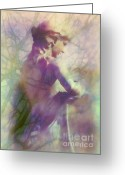 Morning Mist Images Greeting Cards - Statue in the Garden Greeting Card by Judi Bagwell