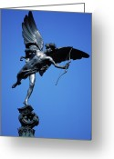 Eros Statue Greeting Cards - Statue of Eros Greeting Card by Carl Purcell