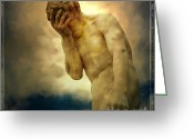 Depressed Greeting Cards - Statue of human covering face Greeting Card by Bernard Jaubert