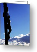 Religious Icon Greeting Cards - Statue of Jesus Christ on the cross against a cloudy sky Greeting Card by Sami Sarkis