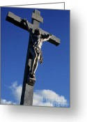 Jesus Christ Icon Greeting Cards - Statue of Jesus Christ on the cross Greeting Card by Sami Sarkis