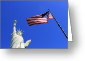 Americana Greeting Cards - Statue of Liberty and American Flag Greeting Card by Frank Romeo
