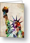 United States Greeting Cards - Statue of Liberty Greeting Card by Michael Tompsett