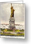 Currier Drawings Greeting Cards - Statue Of Liberty Greeting Card by Pg Reproductions