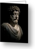 Marcus Greeting Cards - Statue Of Marcus Arelus In A Museum Greeting Card by Richard Nowitz