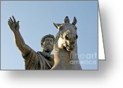 Characters Greeting Cards - Statue of Marcus Aurelius on Capitoline Hill Rome Lazio Italy Greeting Card by Bernard Jaubert