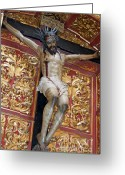 Jesus Christ Icon Photo Greeting Cards - Statue of the crucifixion inside the Catedral de Cordoba Greeting Card by Sami Sarkis