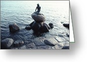 Tourists And Tourism Greeting Cards - Statue Of The Little Mermaid Greeting Card by Ira Block