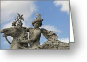 Ile De France Greeting Cards - Statue . Place de la Concorde. Paris. France Greeting Card by Bernard Jaubert