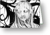 Silver Gelatin Greeting Cards - Statue Greeting Card by Simon Marsden