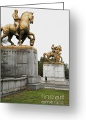 Arlington Memorial Bridge Greeting Cards - Statues at entrance to Memorial Bridge in Washington DC Greeting Card by William Kuta