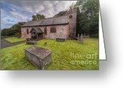 Graveyard Digital Art Greeting Cards - St.Dyfnogs Church Greeting Card by Adrian Evans