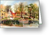 Lake With Reflections Greeting Cards - Ste. Marie du Lac with Gazebo and Pond I Greeting Card by Kip DeVore