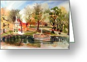 Fall Scene Greeting Cards - Ste. Marie du Lac with Gazebo and Pond II Greeting Card by Kip DeVore