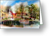 Fall Scene Greeting Cards - Ste. Marie du Lac with Gazebo and Pond III Greeting Card by Kip DeVore