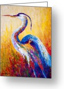 Western Painting Greeting Cards - Steady Gaze - Great Blue Heron Greeting Card by Marion Rose