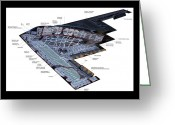 B Pyrography Greeting Cards - Stealth Bomber Diagram Greeting Card by Paul Van Scott