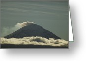 Puebla Greeting Cards - Steam Billows From Popocatepetl Volcano Greeting Card by Raul Touzon