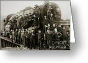Wyoming Greeting Cards - Steam Engine 351 on Turntable Coxton Yards Coxton Pennsylvania early 1900s Greeting Card by Arthur Miller