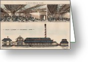 Ironing Painting Greeting Cards - Steam Laundry at Battersea Park England 1881 Greeting Card by Ernest Turner