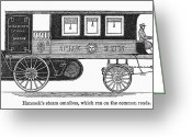 1833 Greeting Cards - STEAM OMNIBUS, 1830s Greeting Card by Granger