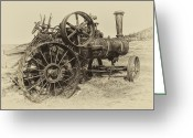 Farm Machine Greeting Cards - Steam Powered Farm Tractor - Molson Ghost Town Greeting Card by Daniel Hagerman
