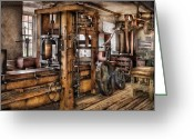 Torture Greeting Cards - Steam Punk - The Press Greeting Card by Mike Savad