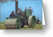 Locomotive Greeting Cards - Steam Roller Traction Engine Greeting Card by Martin Davey