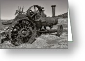 Farm Machine Greeting Cards - Steam Tractor - Molson Ghost Town Greeting Card by Daniel Hagerman