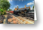 Carriage Greeting Cards - Steam Train Greeting Card by Adrian Evans