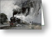Trains Painting Greeting Cards - Steam Train at Garsdale - Cumbria Greeting Card by John Cooke