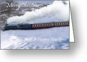 Noth Greeting Cards - Steam Train in snow  Greeting Card by Cliff  Norton