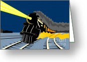 Illustration Greeting Cards - Steam Train Night Greeting Card by Aloysius Patrimonio